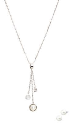 Misaki Sundownlong Rhodium pendant set