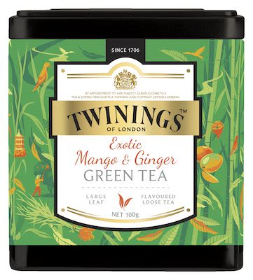 Twinings Mango and Ginger Green Tea in tin 100g