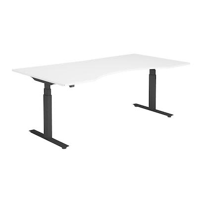 Height adjustable desk, white with black frame