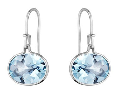 GJ Ladies Savannah Earrings Silver Blue Topaz