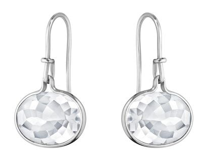 GJ Ladies Savannah Earrings Silver Rock Crystal