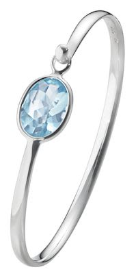 GJ Ladies Savannah Bangle Silver Blue Topaz