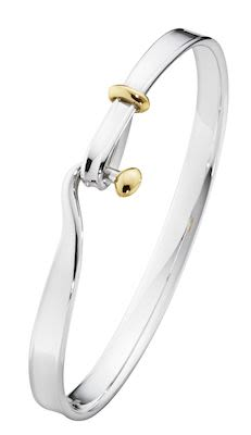 GJ Ladies Torun Bangle Silver with Gold size L