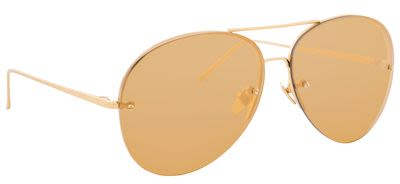 Linda Farrow Unisex Aviator Yellow Gold Sunglasses