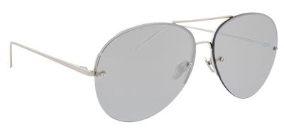 Linda Farrow Unisex Aviator White Gold/Platinum Sunglasses