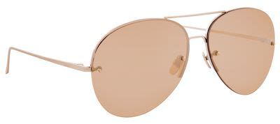 Linda Farrow Unisex Aviator Light Gold/Turquoise Grad Sunglasses