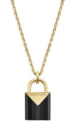 Michael Kors Ladies' Black Padlock Necklace
