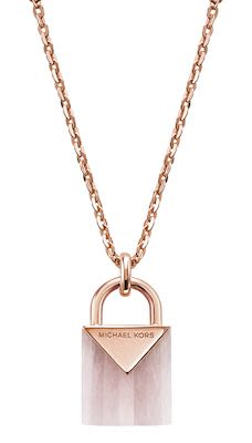 Michael Kors Ladies' Pink Padlock Necklace