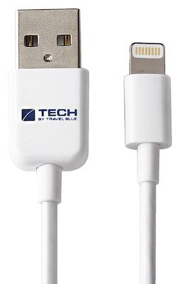 Travel Blue Lightning Connector Data Sync and Charge Cable