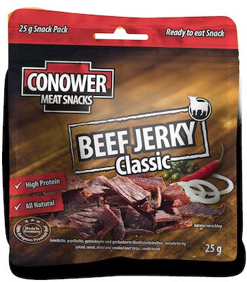 Conower Jerky spiced, smoked an dryed beef stripes, ready to