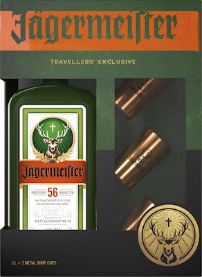 Jägermeister 100 cl. - Alc. 35% Vol. With 3 shot glasses.