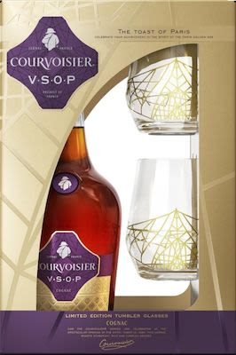 Courvoisier VSOP 100 cl. - Alc. 40% Vol. Gift Pack with 2 Glasses.