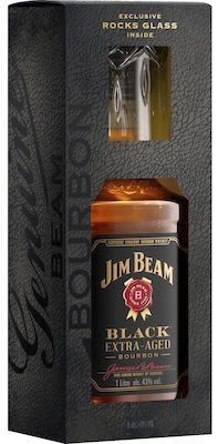 Jim Beam Black 100 cl. - Alc. 43% Vol. Gift Pack with 1 Glas.