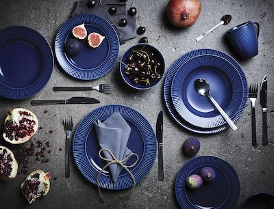 Aida Groovy 16-pcs stoneware set, blue