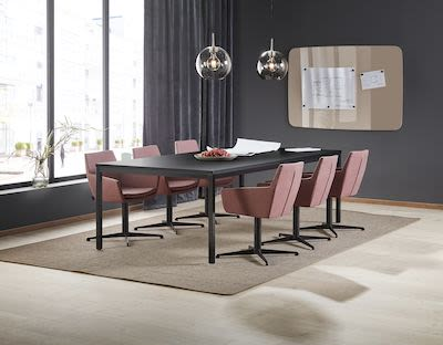 Conference package deal MODULUS + FAIRVIEW, 1 table and 6 plum chairs