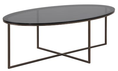 Coffee table OTA 147EV with glass top and metal base in Giove brass