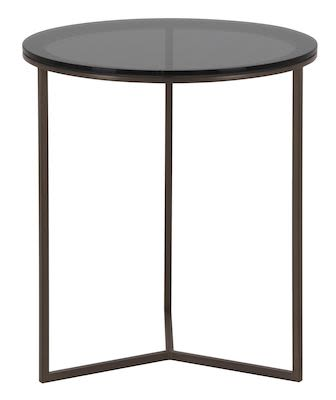 Sidetable OTA 143EV with glass top and metal base in Giove brass