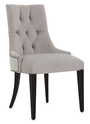 Dining chair 410S with tufted back and legs in Wengé finish