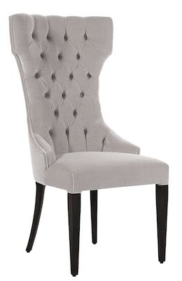 High back dining chair 450S with tufted back and legs in Wengé finish