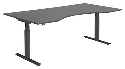 MODULUS electrically height-adjustable desk with an ergonomic wave desktop, 200x100 cm, black/black
