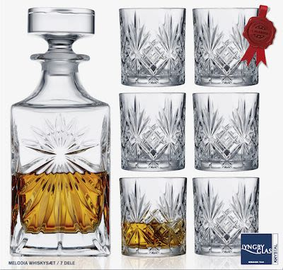Lyngby Melodia whisky decanter and 6 glasses, crystal