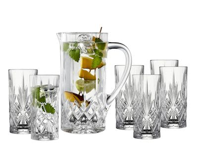 Lyngby Melodia jug set with 6 glasses, crystal