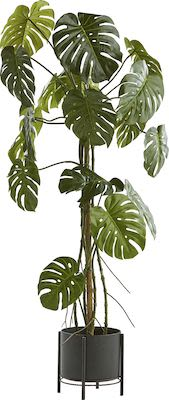 Artificial Monstera plant, H 180 cm, incl. black steel pot on stand