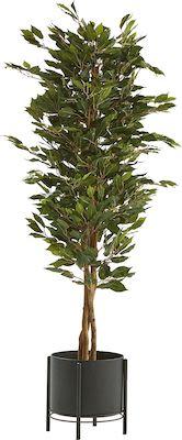 Ficus Benjamin artificial plant, H 160 cm, incl. black steel pot on stand
