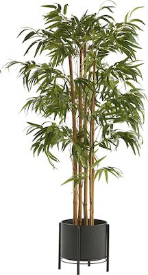 Bamboo artificial plant, H 150 cm, incl. black steel pot on stand
