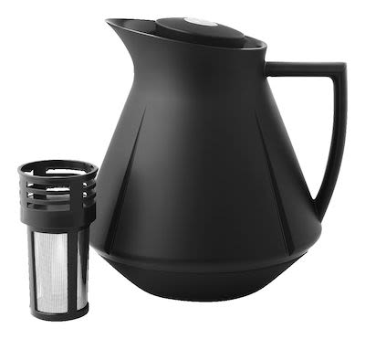 Rosendahl Grand Cru Tea Thermo with push-button function and built in tea filter. 1,0 l black.