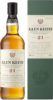 Glen Keith, 21yo Speyside 70 cl. - Alc. 43% Vol.In gift box.