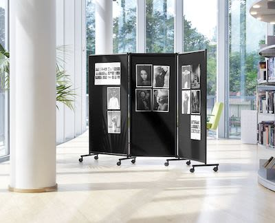Triple panel mobile noticeboard, H170xW228cm, black
