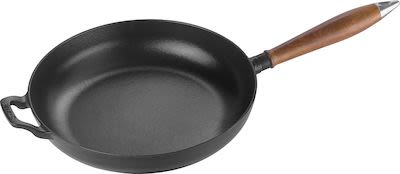 Staub Vintage cast iron frying pan with wooden handle 28cm