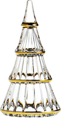 Holmegaard Christmas tree H19 cm. Clear glass with gold paint