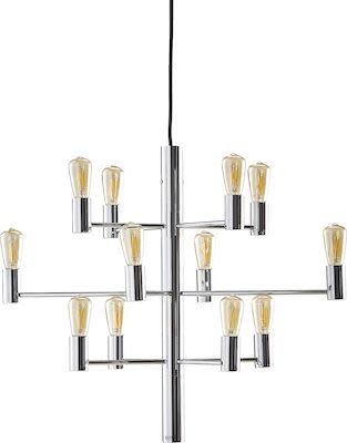 Ceiling light GALAXY, 12-arm, chrome