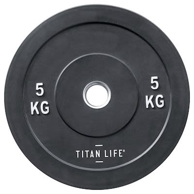 TITAN LIFE Bumper Plate 5kg. Dia. 50mm. Rubber PLEASE CHECK AVAILABILITY WITH CUSTOMERSERVICE - DUE TO THE CORONA PANDEMIC DELIVERY TIME MAY OCCUR