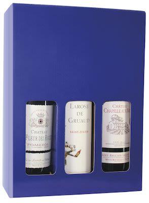 Blue Wine Gift Box (empty) cardboard, 3 btl.