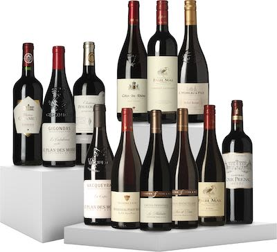 12 Bottles Tasting Box French Red Wine 12x75 cl.