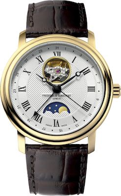 FC Gent's Classic Heart Beat Moonphase Watch gold plated