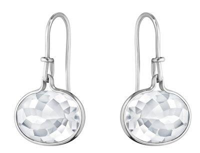 GJ Ladies Savannah Earrings Silver Rock Crystal