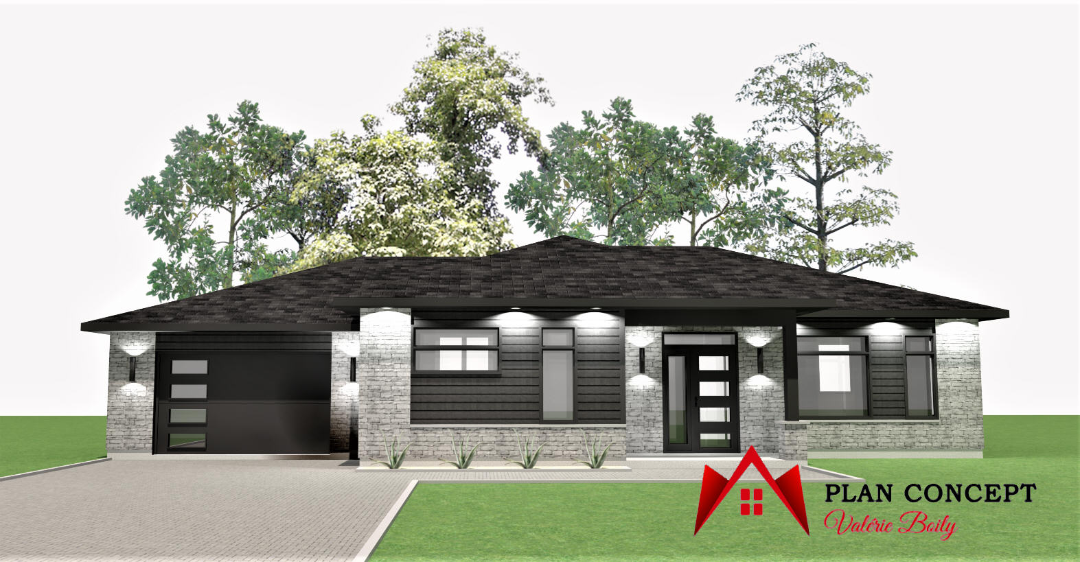 Maison contemporaine, garage annexé