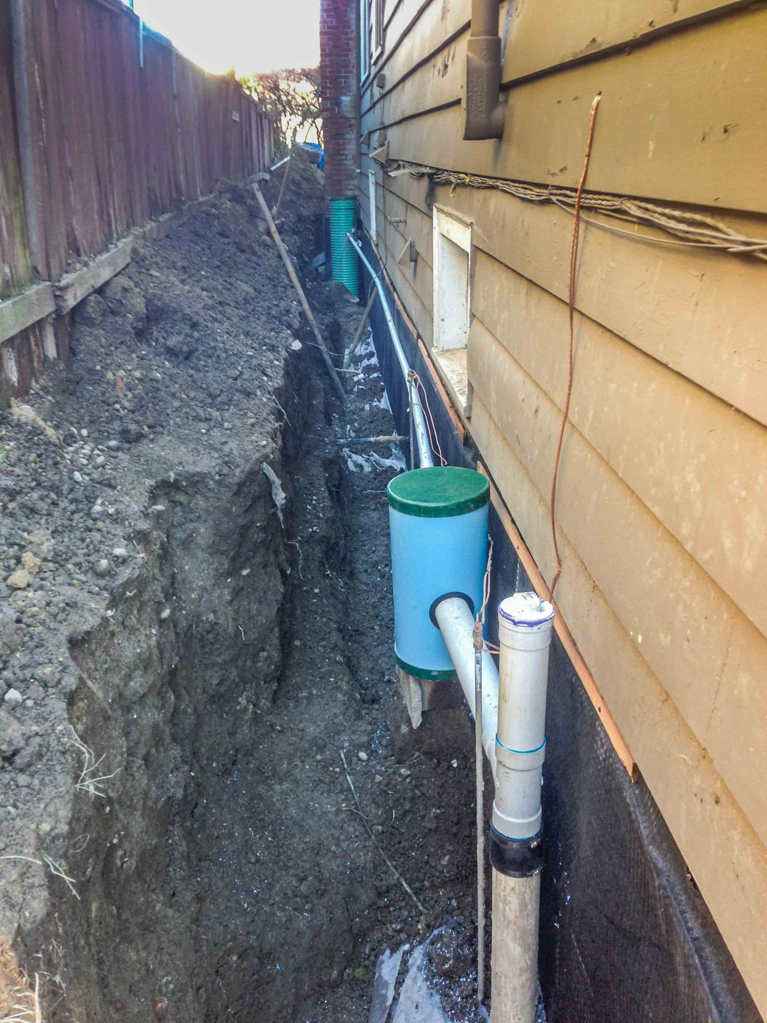 New Exterior Waterproofing Drainage Pipe