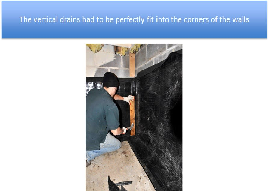 Vertical Drains Fit Into the Corners of the Walls