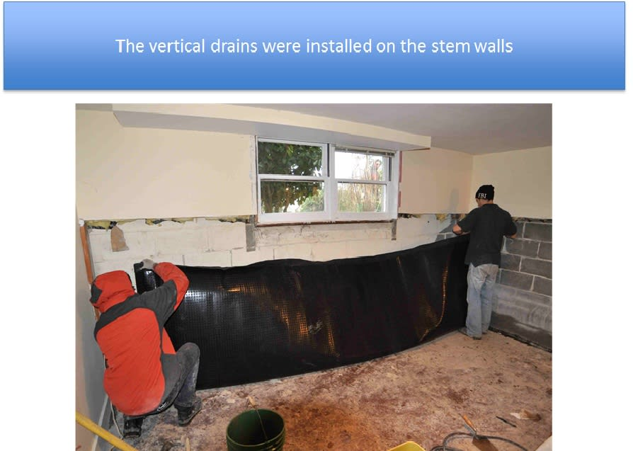 New Vertical Drains Installed on Stem Walls