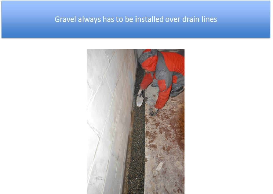 Gravel Spread Over Drain Lines In Trenches