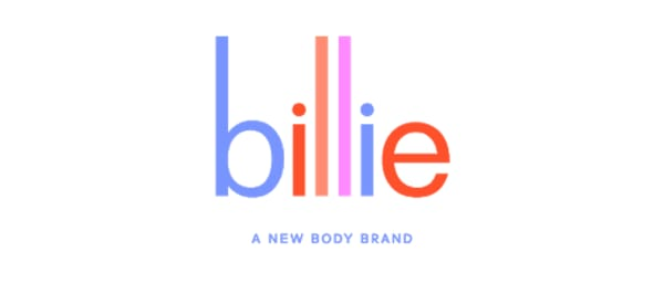 Logo of NYC based startup billie, a female-first shave and body brand that sells affordable razors without the pink tax