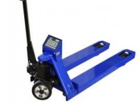 Pallet truck with a weight