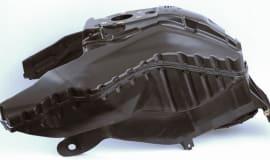 Double-shell, welded motorcycle tank