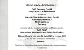 ISCC Plus Certification for Gabriel-Chemie Germany
