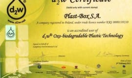 d2w technology certificate for Plast-Box products